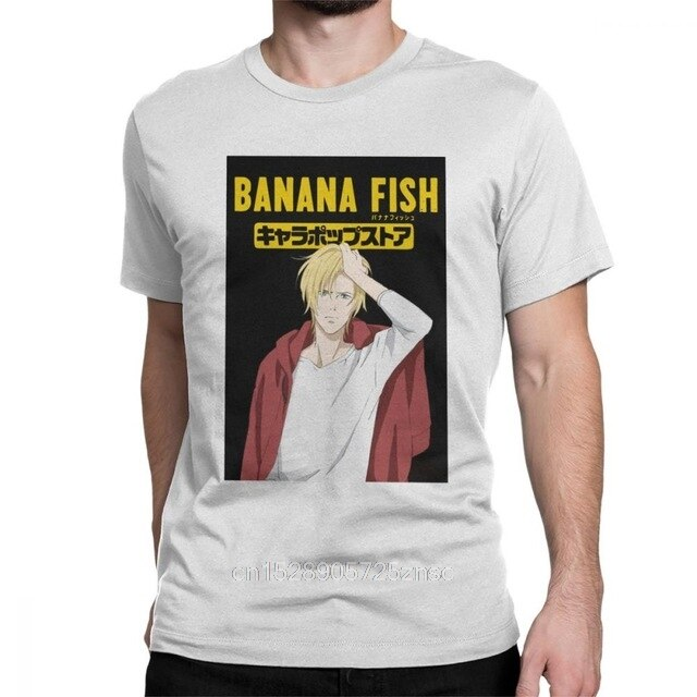 Estampado Ash Lynx Banana Fish para Hombre Camisetas Anime Manga Eiji divertida camiseta de Manga corta de cuello redondo Camiseta de algodón para mujer