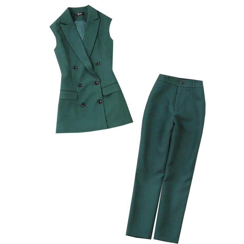 ¡Novedad de primavera y otoño 2020! Traje de pantalón para mujer, traje de dos piezas, elegante saco verde de longitud media, pantalones ajustados.
