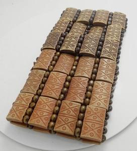 WHOLESALE 24 pcs Natural Wood elastic Men's bracelets jewelry job lot