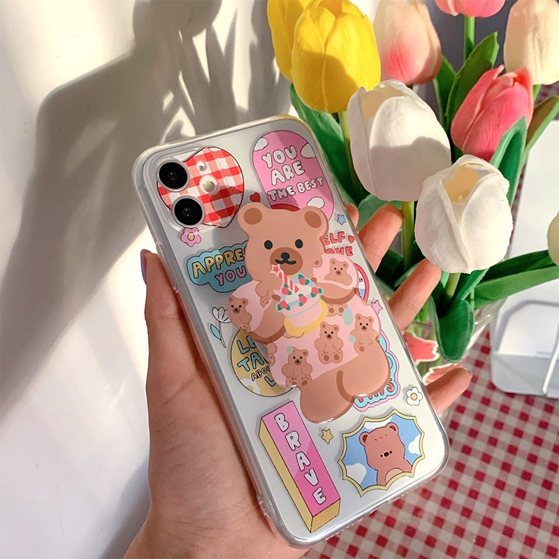 3d dos desenhos animados urso aperto suporte caso do telefone para o iphone 7 11 pro xr x xs max 8 mais macio tpu transparente telefone capa fina fundas