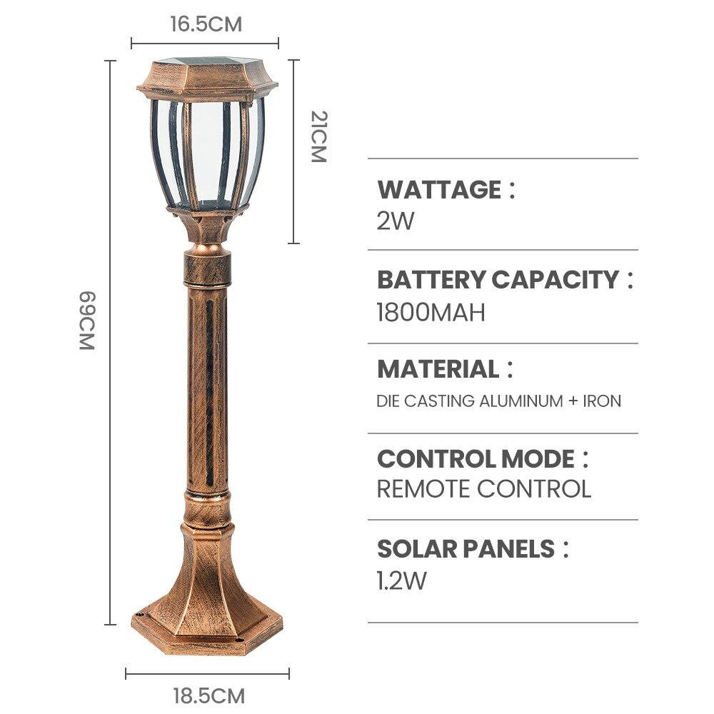 LED Solar Light Garden Lawn Lamp with Remote Control Three-tone Light Outdoor Waterproof Retro Villa Garden Lamp Post Head Lamp enlarge
