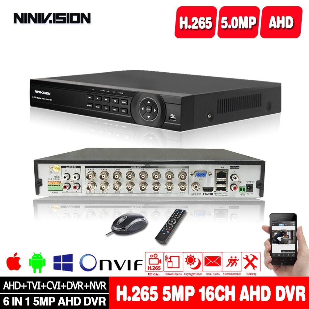 H.265 AHD 5MP 4CH 8CH 16CH CCTV DVR 6 في 1 نظام أمان طقم NVR لكاميرا 1080P 5MP IP DVR Onvif ، إنذار الإخراج