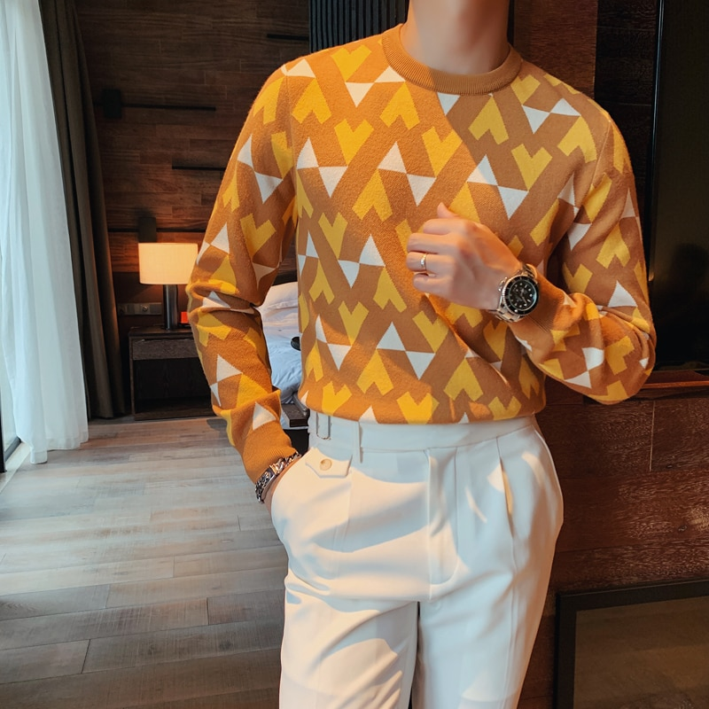 British Fashion Sweater Men Clothing Autumn Winter Long Sleeve Knitted Sweaters for Pullovers Streetwear Slim Ropa Hombre