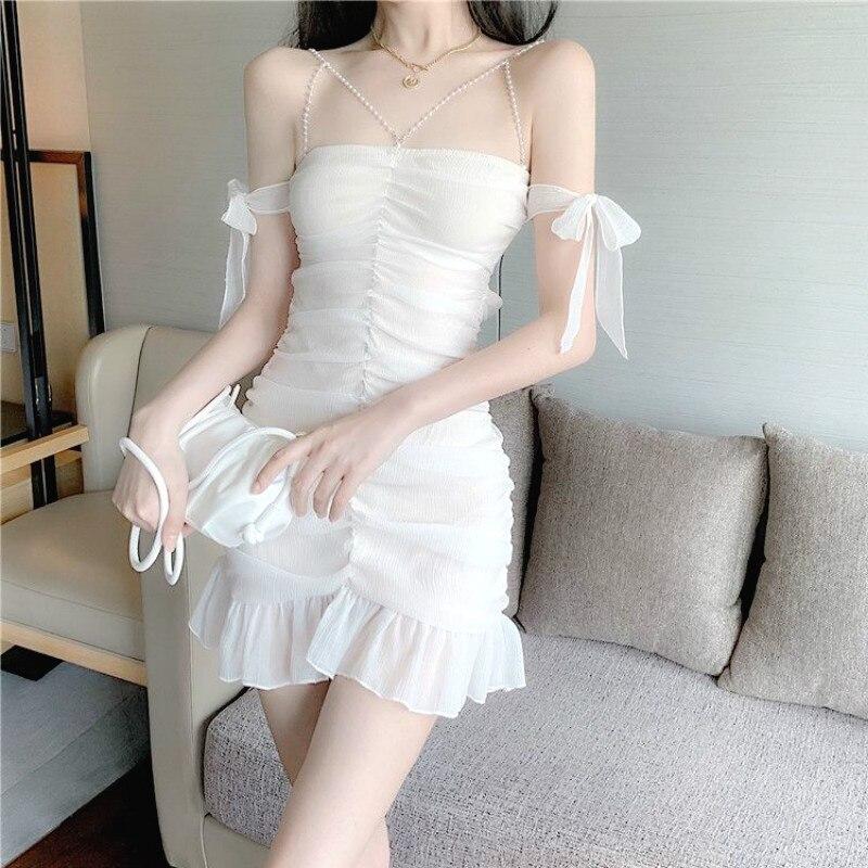 Элегантное женское белое сексуальное мини-платье без рукавов с открытой спиной, Летние Повседневные Вечерние платья без рукавов во француз...