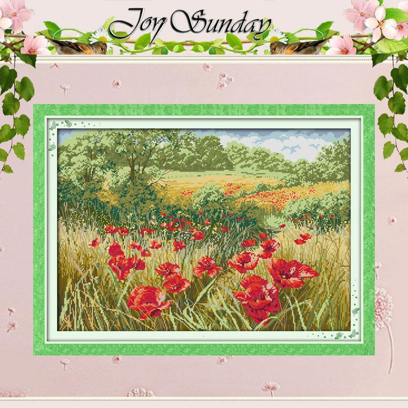 Belles fleurs rouges (1) point de croix compté 11CT 14CT point de croix ensembles chinois Kits de point de croix broderie couture