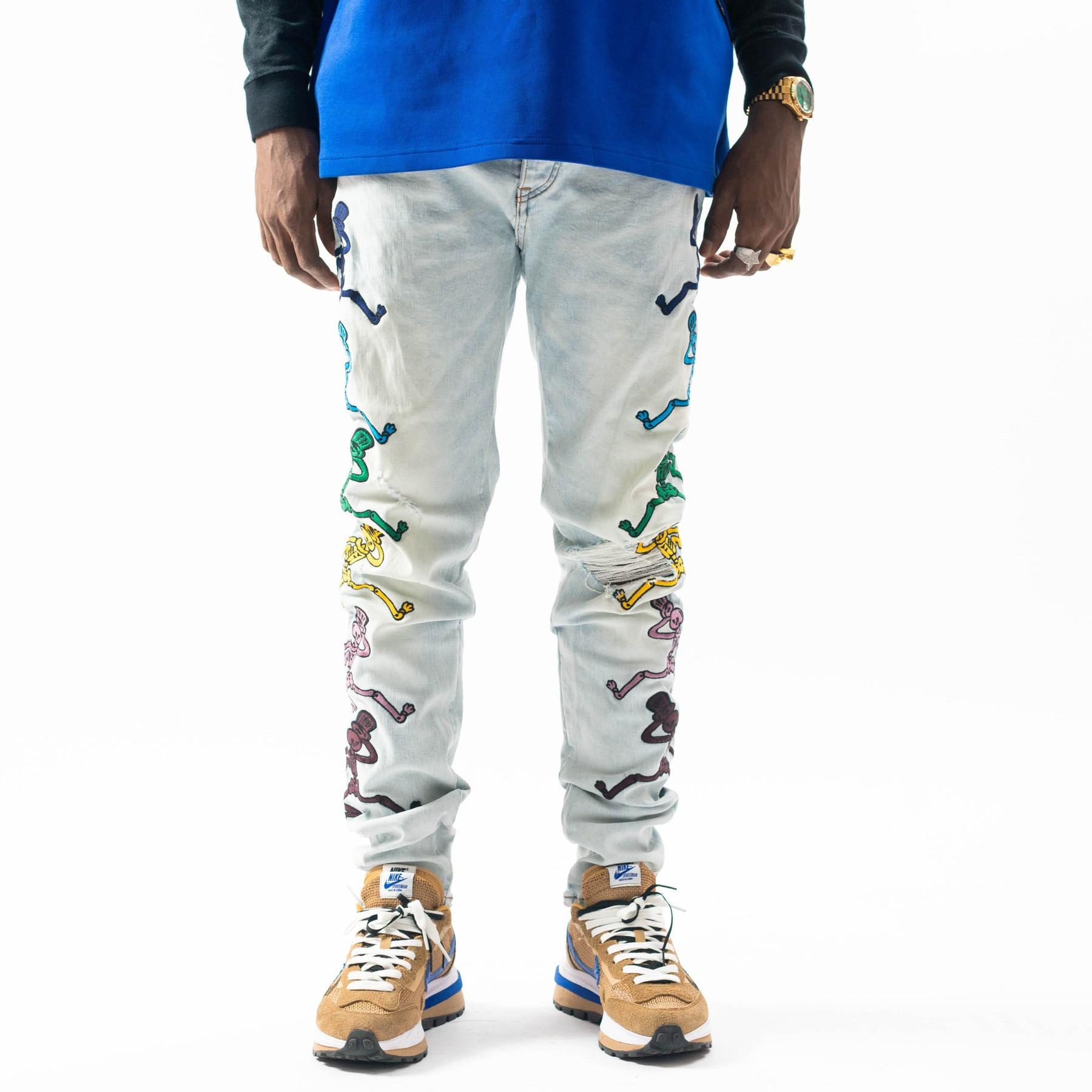 Мужские брендовые джинсы, роскошные облегающие светло-голубые джинсы с вышивкой, мужские рваные джинсы в стиле Хай-стрит, панк-рок