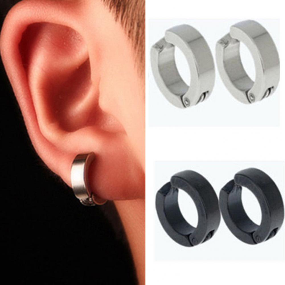 Фото - 80% Hot Sale 1 Pair Men Stud Earrings Stainless Steel Non-Piercing Clip On Ear Stud Cuff Hoop Earrings pendientes серьги женские body jewelry open nose ring fake clip sexy on 6 8 10mm 1pc sale small hoop simple surgical steel piercing stud thin free ship