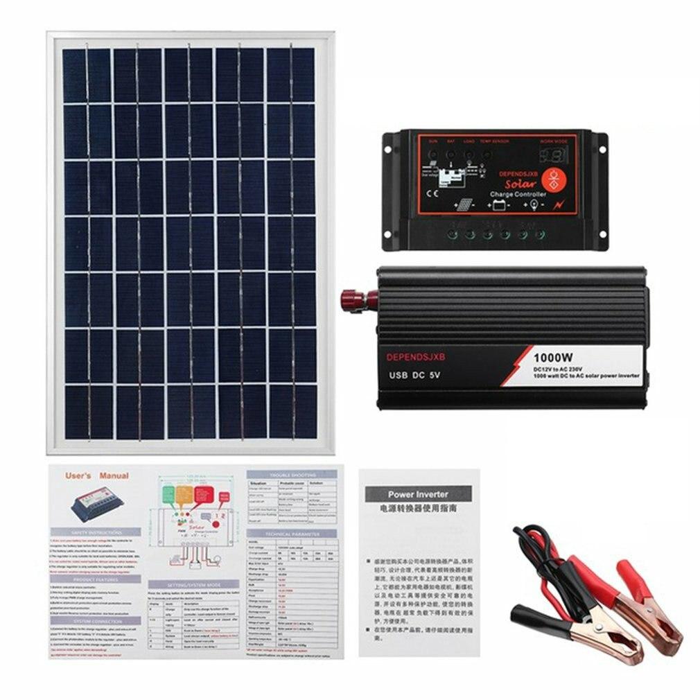 نظام لوحات شمسية 18 فولت 20 واط الواح البطاريات الشمسية جهاز التحكم في الشحن الشمسية العاكس عدة كاملة توليد الطاقة 40A