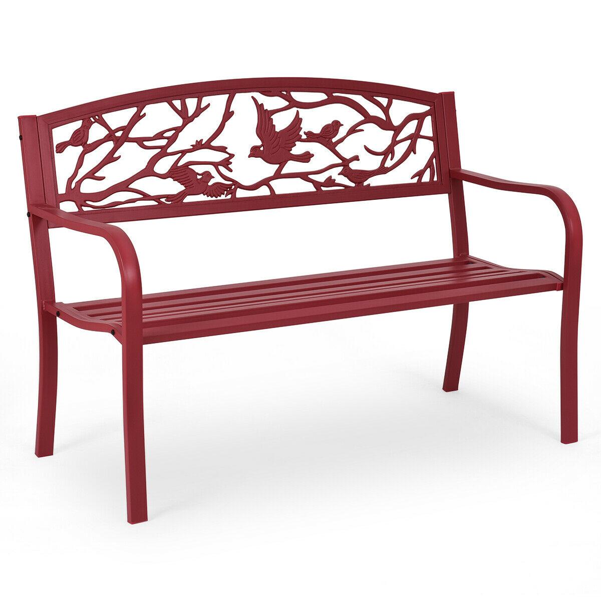 Costway-مقعد حديقة الفناء ، أثاث خارجي ، كرسي حديقة من الحديد الزهر ، أحمر