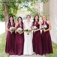 newest burgundy halter bridesmaid dresses 2020 a line long vestido de festa formal wedding guest gowns
