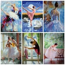 AZQSD DIY pintura por números bailarina de Ballet sin marco pintura acrílica sobre lienzo pintado a mano pintura al óleo para decoración del hogar artes