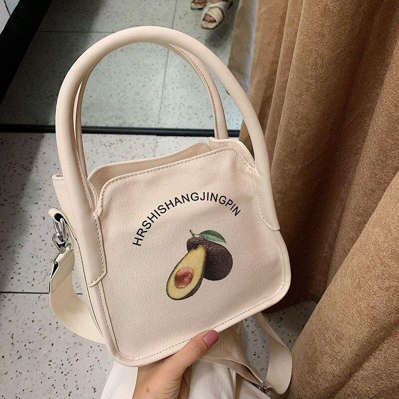 2019 nuevo lienzo japonés mini pequeño bolso cuadrado aguacate impreso hombro slung bolsa