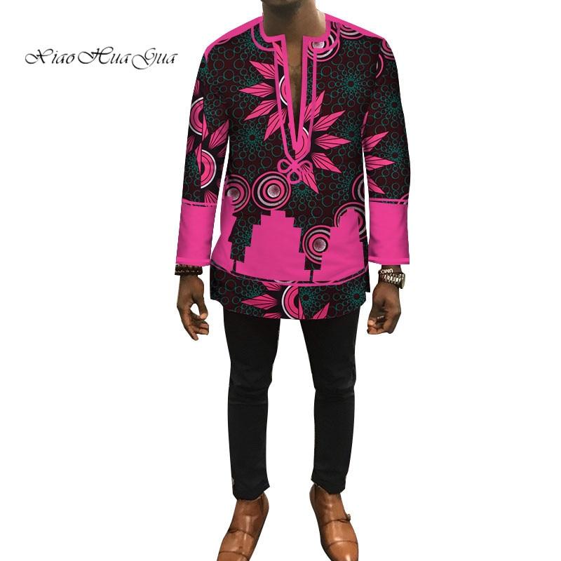 2020 Новая Осенняя Дашики африканская мужская одежда Bazin Riche Лоскутная Мужская рубашка одежда на заказ рубашка с принтом для мужчин WYN448