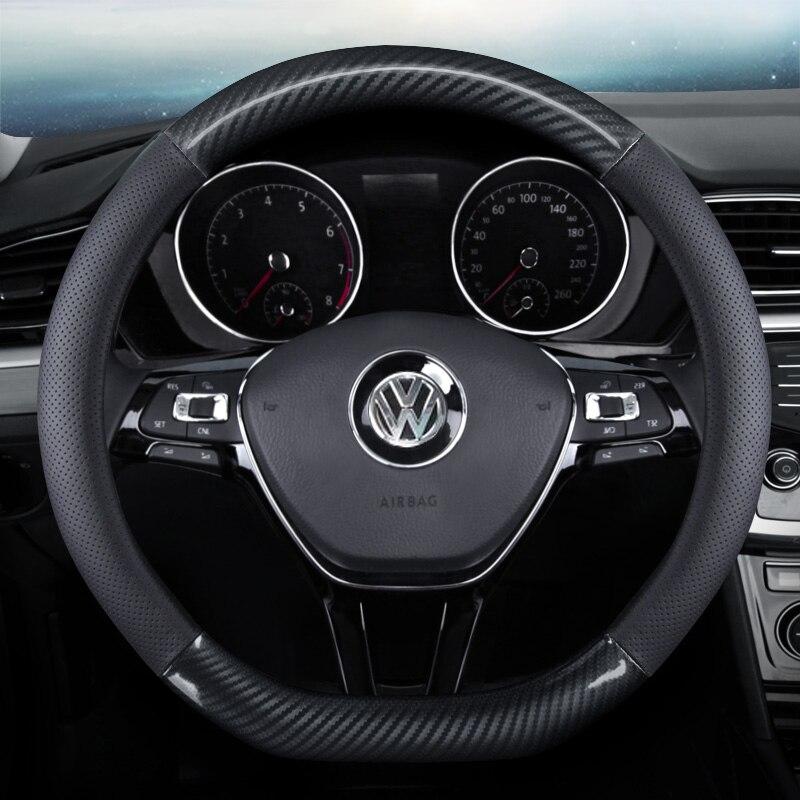 Funda de volante de coche antideslizante de fibra de carbono de cuero PU para Chevrolet Miray Caprice Agile Stingray Aveo5 Matiz Lumina HHR