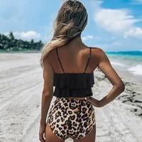 leopard bikini 2021 waist bikini high animal impression tankini floral swimsuit brazilian plissado plus size female bath