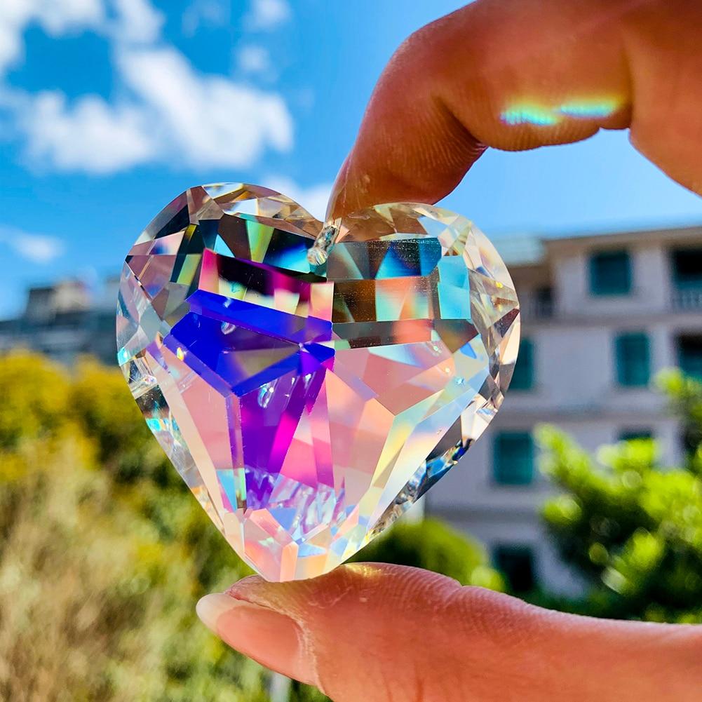 AliExpress - 45mm AB Heart Crystal Prisms Suncatcher Chandelier Part Love Pendant Glass Hanging Home Wedding Decor DIY Ornament Accessories