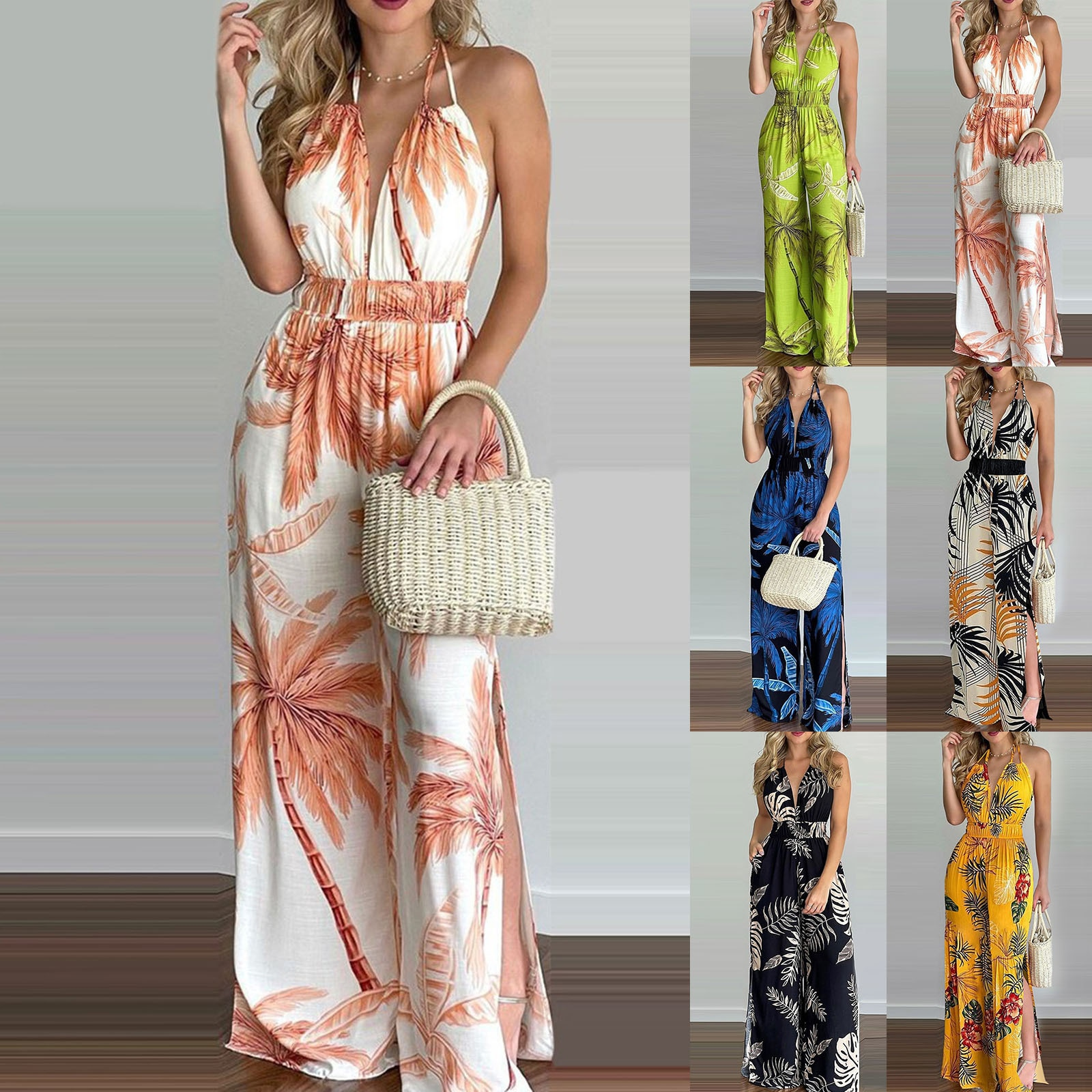 Women Fashion Jumpsuit Colorful Print Halter Backless One Piece Bohemian Jumpsuits Sexy Party Club Outfits 2021