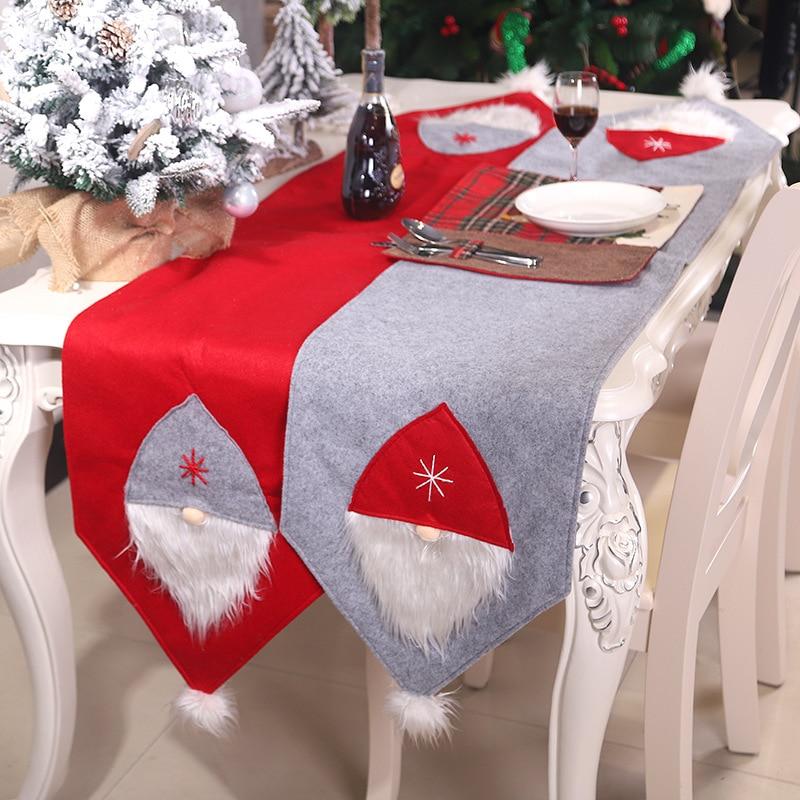 Yaapeet 2 قطعة عيد الميلاد الأحمر سانتا كلوز الجدول عداء الطعام غرفة البوليستر الجدول القماش عيد الميلاد الأزياء حزب ديكور