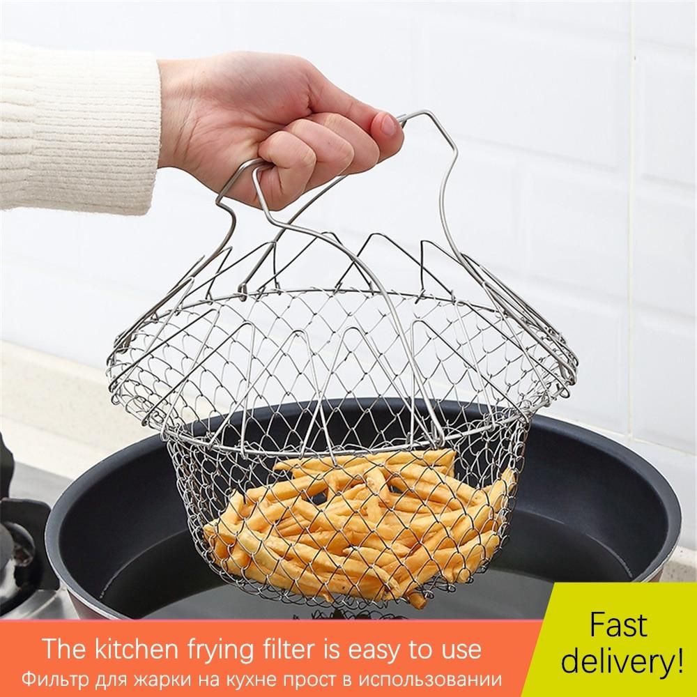 Filtre de rinçage à la vapeur pliable friture frites beignets maille panier filtre inox friteuse cuisine outils de cuisson