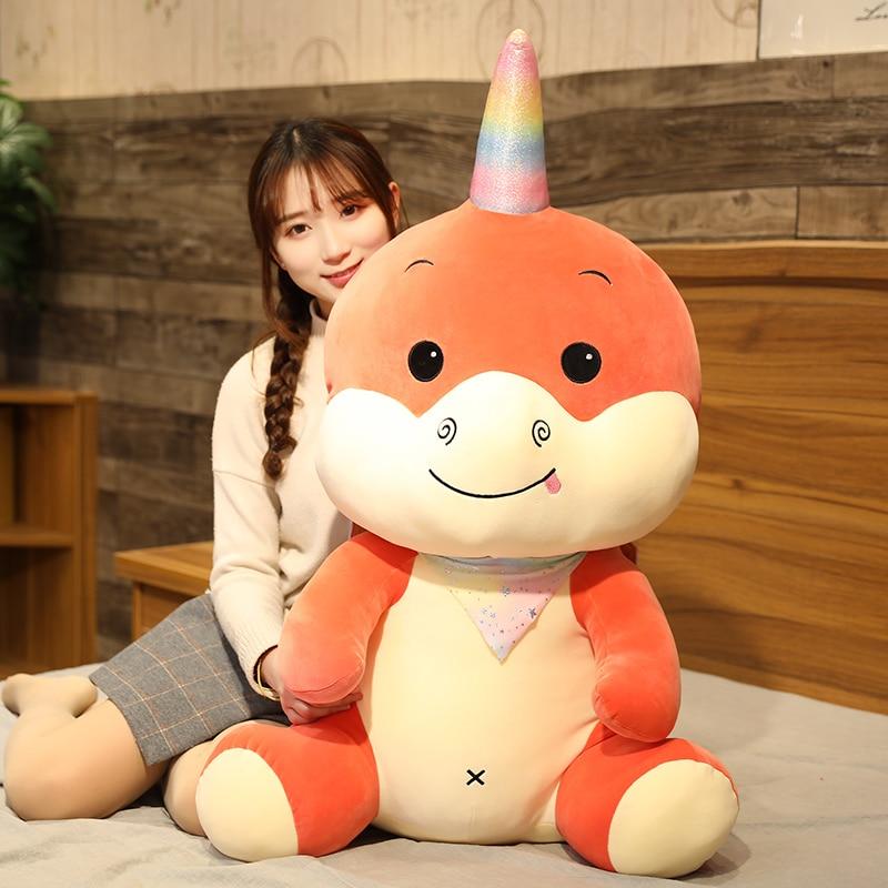Chaud Huggable dessin animé Anime licorne Dragon volant en peluche Animal en peluche jouet grande licorne dinosaure poupée enfant cadeau danniversaire
