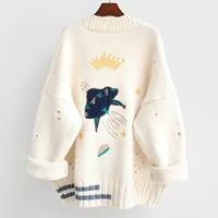 knitted cardigan women sweater 2020 female autumn winter loose embroidery oversized warm korean jacket cartoon clothing