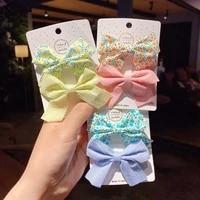 2pcs korean children simple cute flower hairpins 2021 fashion sweet girl princess fabric plaid bow hair clips hair accessories