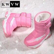 Winter Plus Velvet Kids Shoes Durable Leather TPR Bottom Children Outdoor Snow Long Tube Booties Cot
