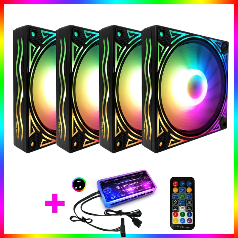 Coolmoon 120mm PC Computer LED AURA SYNC RGB fan Desktop Computer Cooling Cooler Silent Case rgb Fan with IR Remote Controller coolmoon 120mm pc computer case fan cooling cooler 6pin adjustable rgb mute ventilador rgb case fans adjust speed