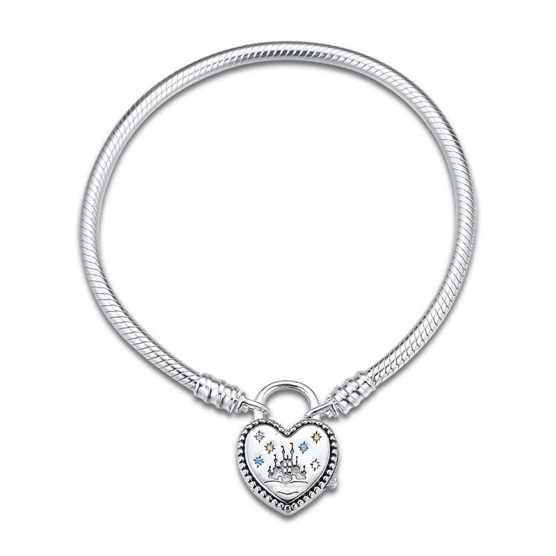 2020 Fantasyland Castle candado de corazón cierre de las pulseras de las mujeres de moda DIY 925 pulseras de plata esterlina para regalo de la joyería de las mujeres