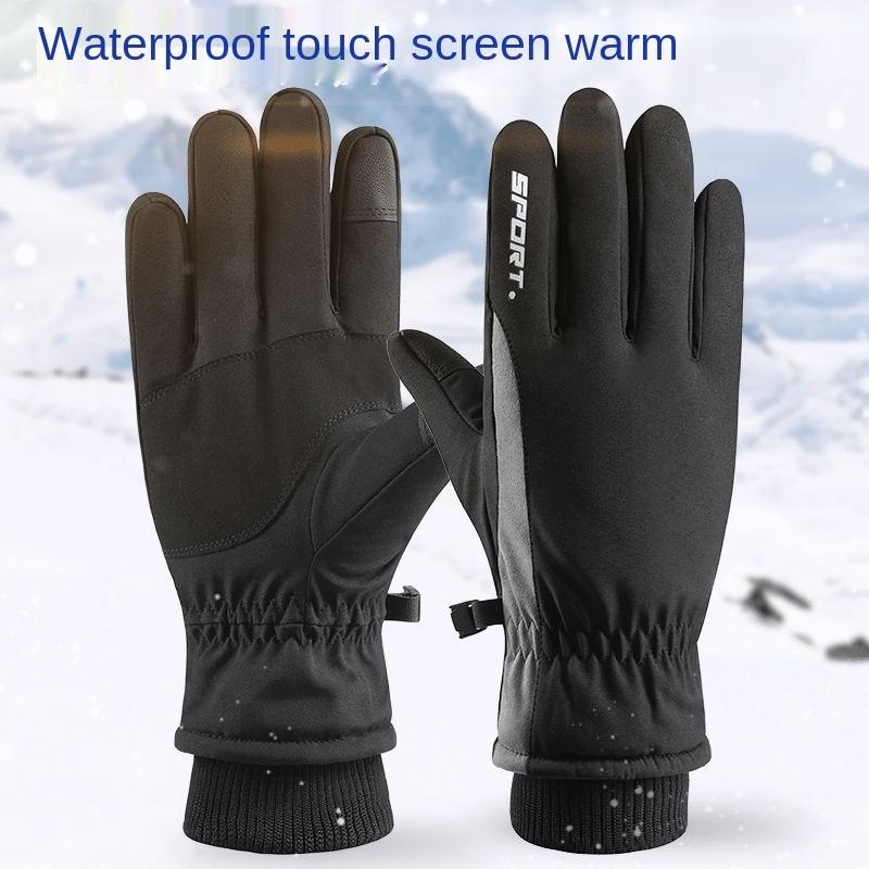 Зимние велосипедные спортивные зимние лыжные теплые перчатки мужские велосипедные сенсорные противоскользящие ветрозащитные водонепрон...