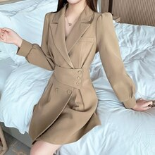 Women's jacket dress women's long sleeved mid length skirt high waist fashion Korean dress 2021 wome