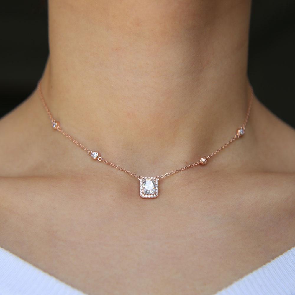 Collar de plata de ley 925 de zirconia cúbica brillante con circonita cúbica y circonita cúbica, joyería de regalo para boda con circonita cúbica y circonita cúbica tipo bling AAA + cz de oro rosa