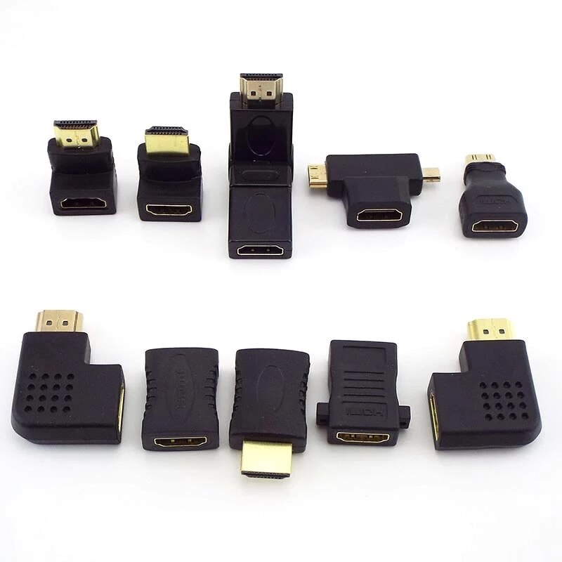 Macho para Fêmea Conector Hdmi Conversor Acoplador Mini Micro Adaptador Extensor Cabo Portátil 1080p 4k Hdtv 90 180 270 360 Graus