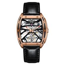 Hommes montres mécaniques GUANQIN GJ16147 saphir lumineux montre pour hommes étanche vert bleu bracelet en cuir montres pour hommes