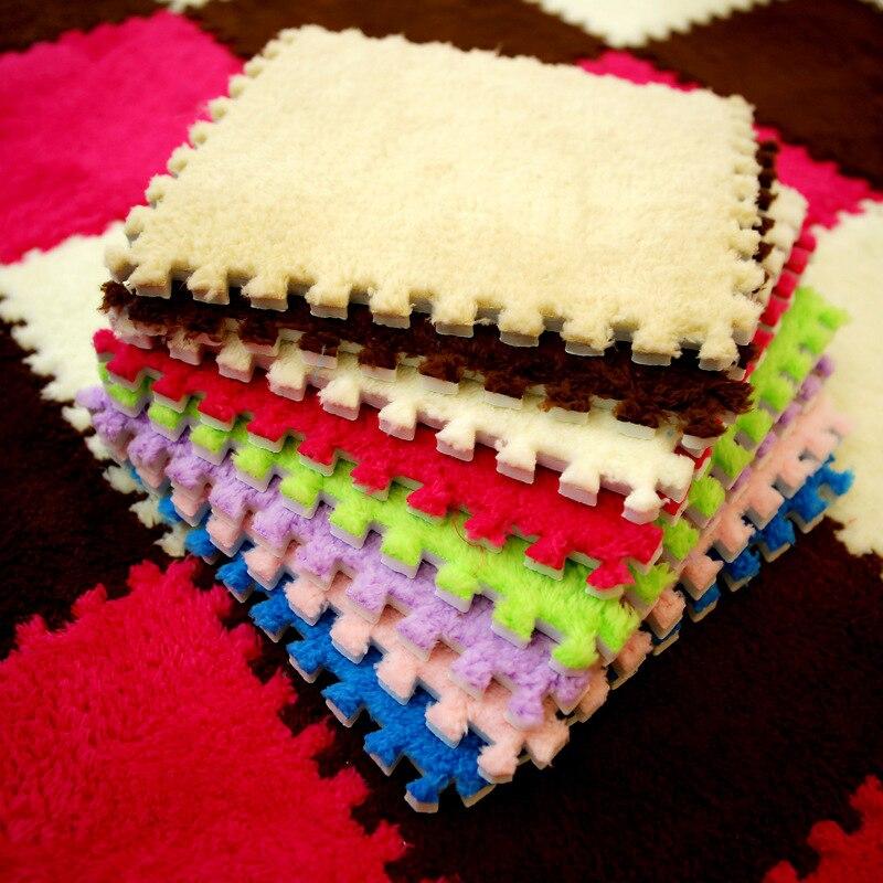 10 pçs/lote crianças confortáveis brinquedos do tapete de pelúcia bebê splice esteira crianças quebra-cabeça tapete jogo alfombra infantil piso playmat 30*30 cm