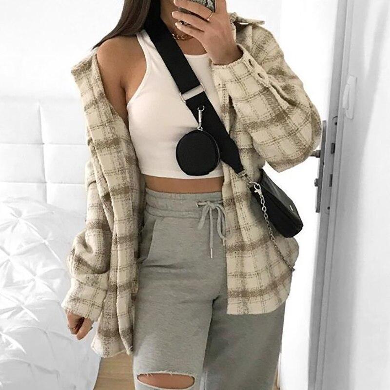 ZXQJ Vintage Women Soft Tweed Shirts 2021 Spring-Autumn Fashion Ladies Elegant Loose Blouses Streetwear Girls Oversize Outwear enlarge