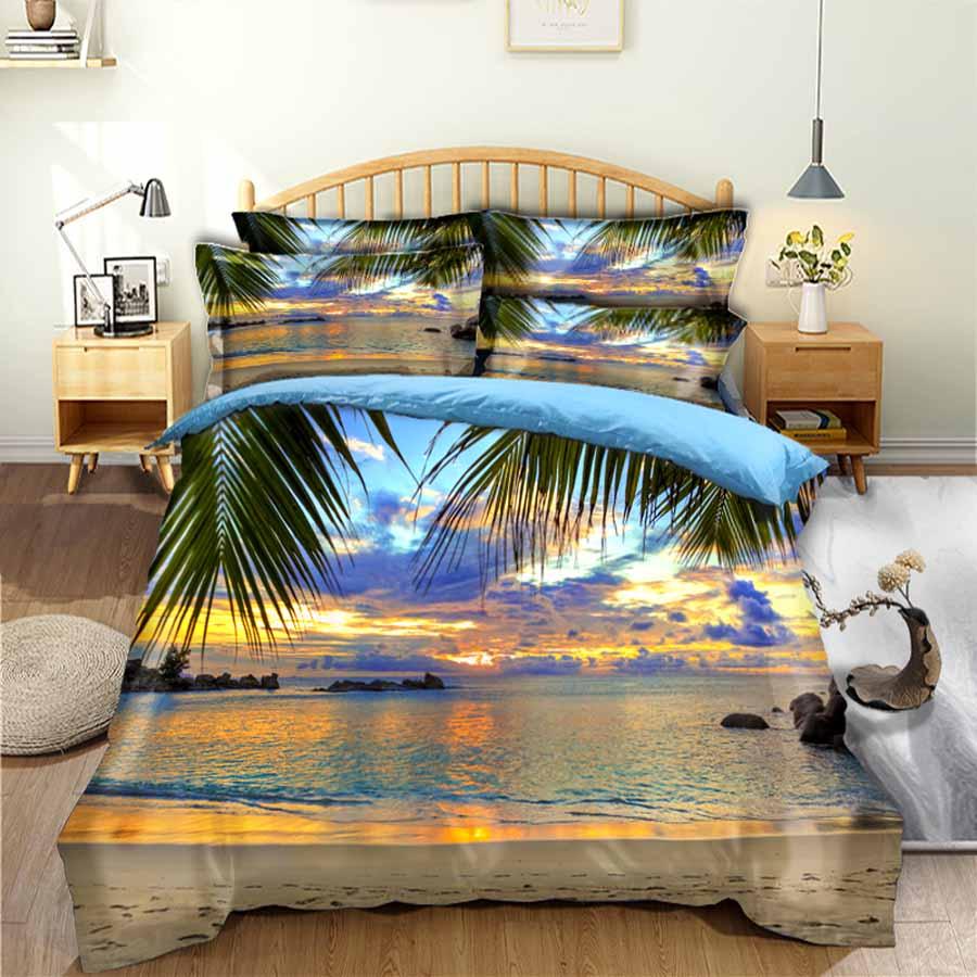 WOSTAR 3d ropa de cama clásica conjunto de funda de edredón y fundas de almohadas hogar textil ropa de cama Coconut tree beach sunset paisaje