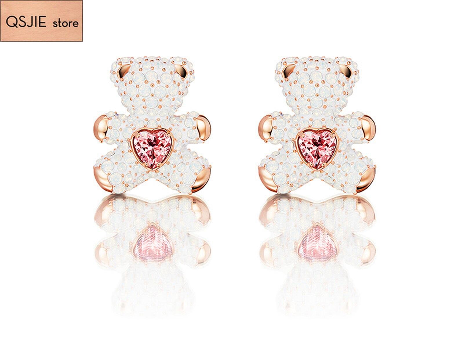 Alta qualidade swa high-grade romântico elegante acessórios de cristal bonito urso brincos para mulheres brincos