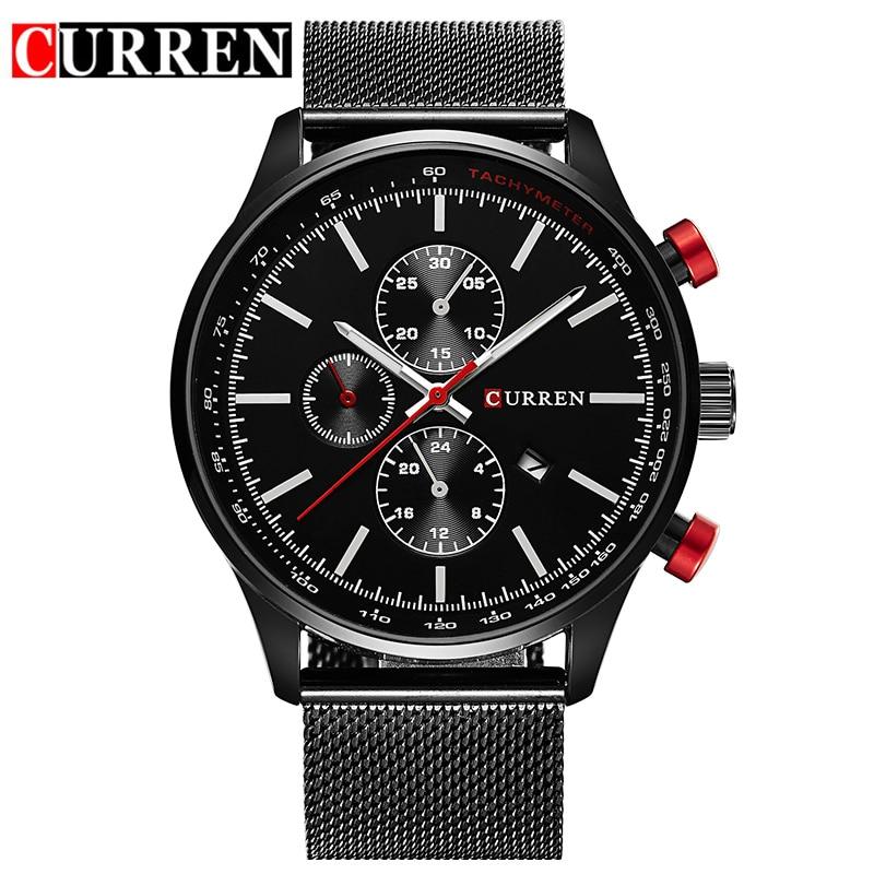 Luxury Brand CURREN Fashion Quartz Watch Analog Military Sports Men Wristwatch Steel erkek kol saati