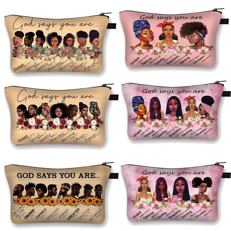 Милые косметички с принтом афро-девушки, женские косметички афро-и латиноамериканского происхождения, черные косметички для девочек, чехол...