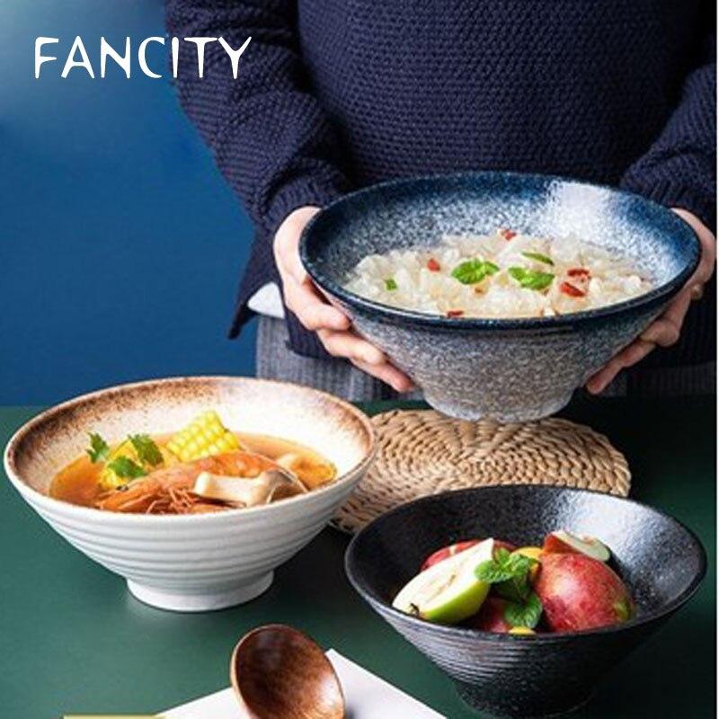 FANCITY-وعاء رامين سيراميك ياباني ، طقم أدوات مائدة ، وعاء نودلز ، وعاء أرز ، وعاء شوربة ، creati كبير