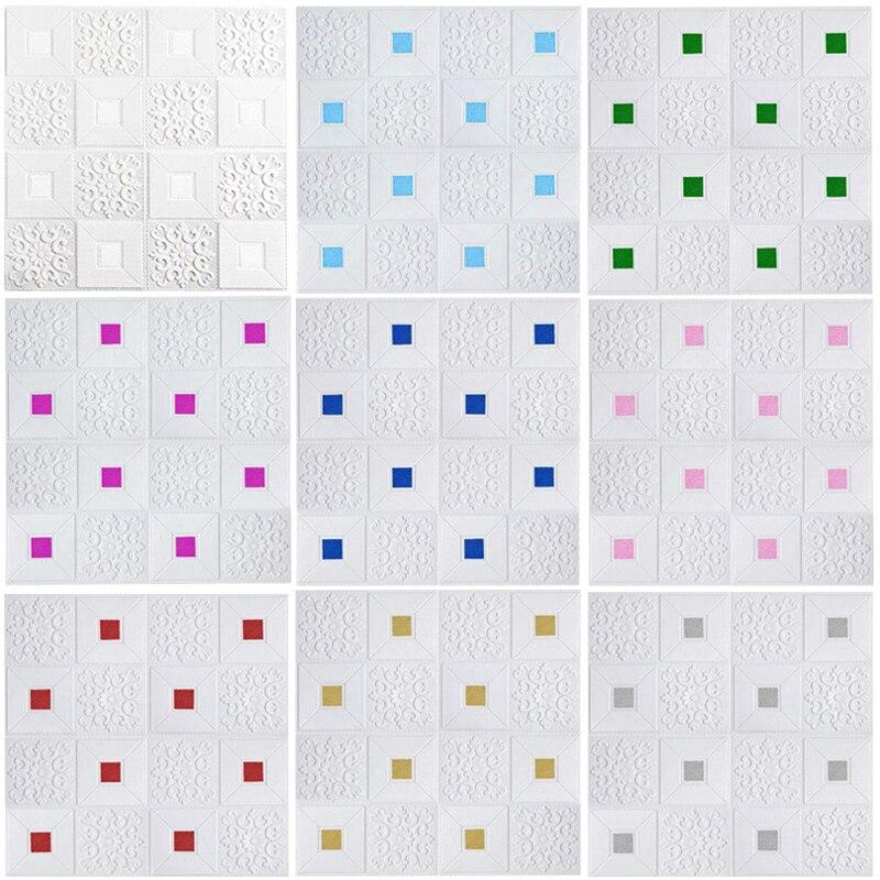Auto-adesivo 3d adesivos de parede quarto decoração papel de parede do fundo da parede de tijolos de espuma quente umidade à prova d água adesivos de cor