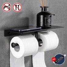 Soporte de papel higiénico para baño, soporte de teléfono móvil montado en la pared, negro, accesorios de baño sin perforaciones de aluminio
