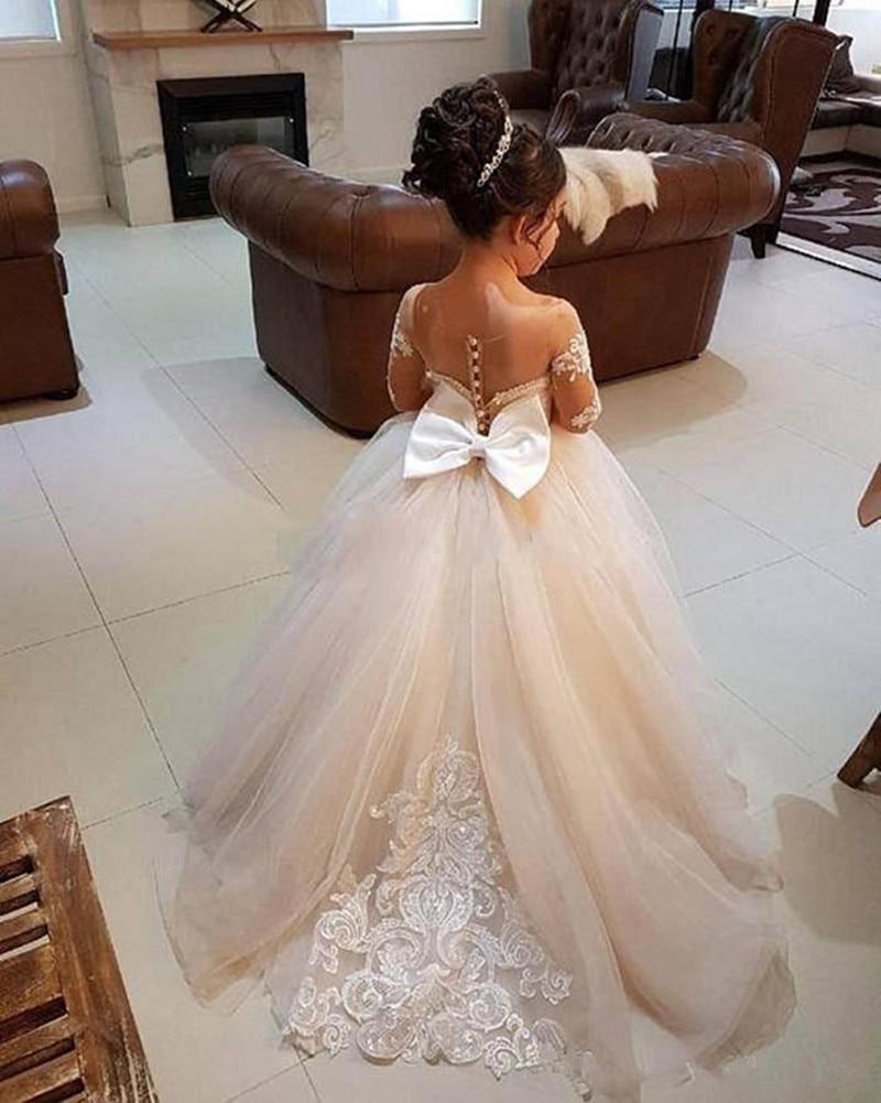 Lovely Kids Flower Girl Dresses For Wedding Long Sleeve Princess Floor Length Backless Ball Gown Junior Bridesmaid Girls Dress
