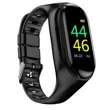 Pulsera inteligente M1 auriculares inalámbricos Bluetooth con frecuencia cardíaca control de la presión arterial deportes Fitness mensaje recordatorio reloj inteligente