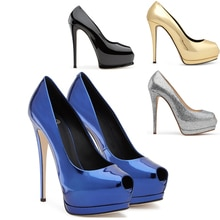 Aimirlly Women Shoes Peep Toe High Heels Pumps Platform Stilettos Ladies Wedding Evening Party Dress Shoes Slip On