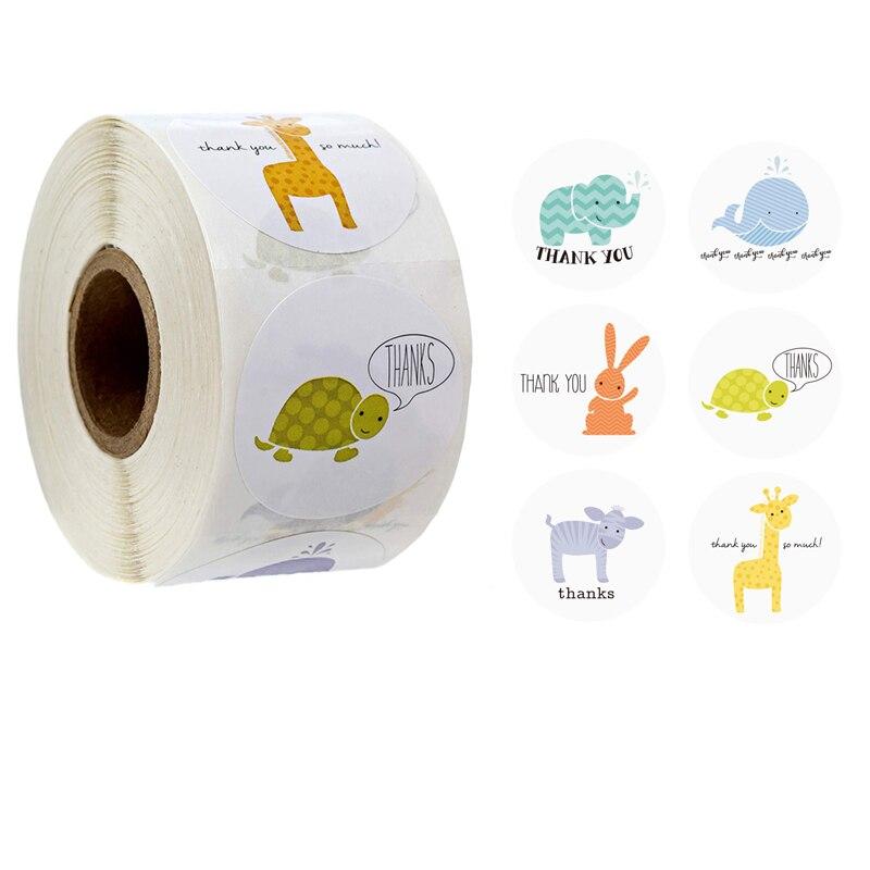 gracias-pegatinas-de-animales-de-dibujos-animados-lindo-1-circulo-de-papel-hecho-a-mano-sello-etiqueta-de-regalo-de-embalaje-adhesivo-de-papeleria