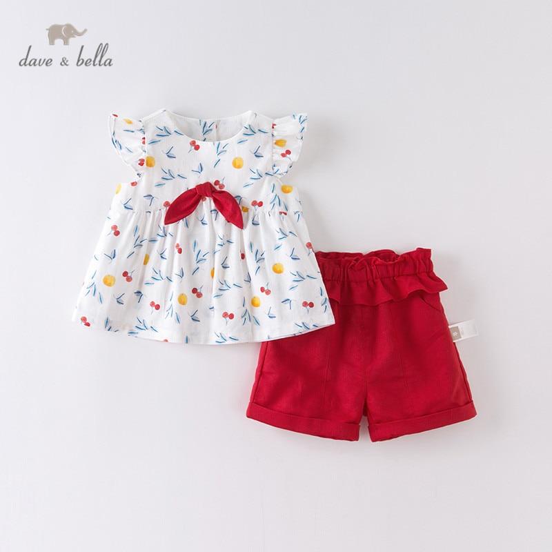 DBS13844 ديف بيلا ملابس الصيف للفتيات الصغيرات, مجموعات ملابس الاطفال لطيف مجموعات الأطفال 2 قطعة بدلة