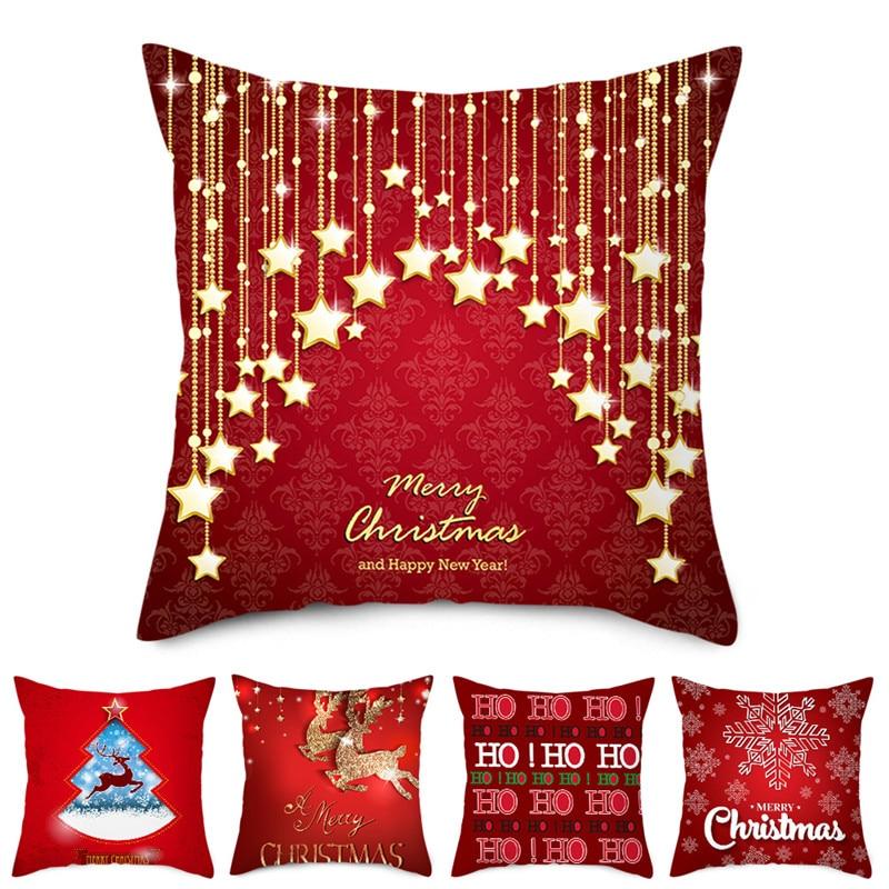 Funda de cojín con patrón rojo Fuwatacchi, funda de almohada decorativa para hogar, sofá o coche, estilo de Navidad, 45x45cm