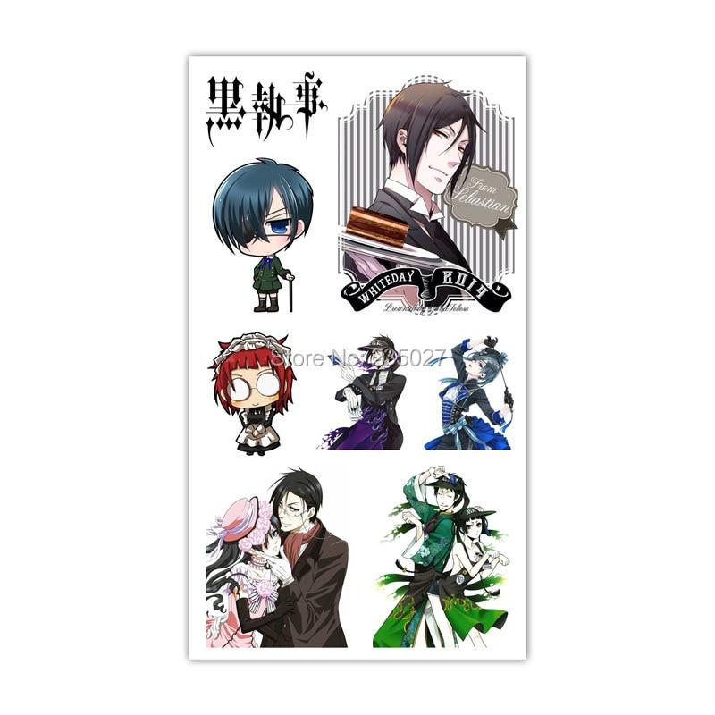 30 sheets/lot kuroshitsuji Black Butler Tattoo Stickers Children Tattoos Paper For Kids Body Arm Anime Sticker